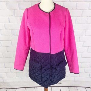 crown & ivy Pink & Navy Quilted Button Down Coat